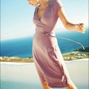 Boden Wrap Dress Driftwood Apple Pink Gray